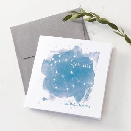 Personalised Gemini Star Sign Card